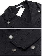 Lapel  Double Breasted  Plain Blazer