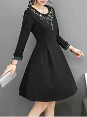 Round Neck  Embroidery Skater Dress