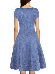 Surplice  Plain  Polyester Skater Dress