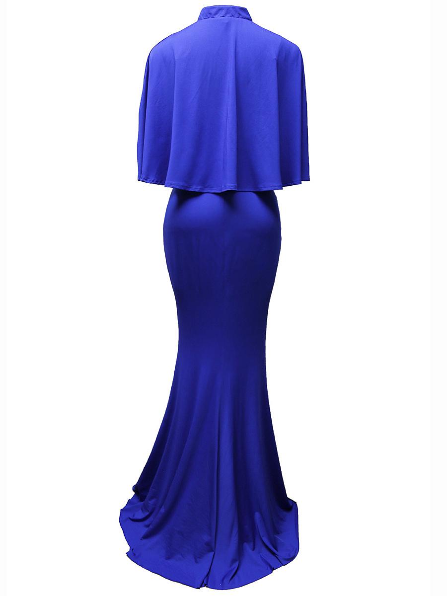 Band Collar Cape Sleeve Plain Mermaid Evening Dress