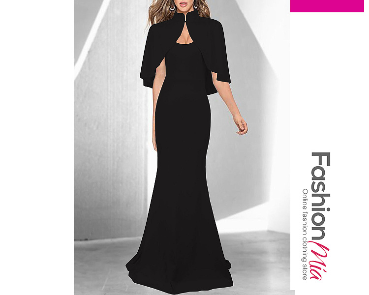 Image of Band Collar Cape Sleeve Plain Mermaid Evening Dress