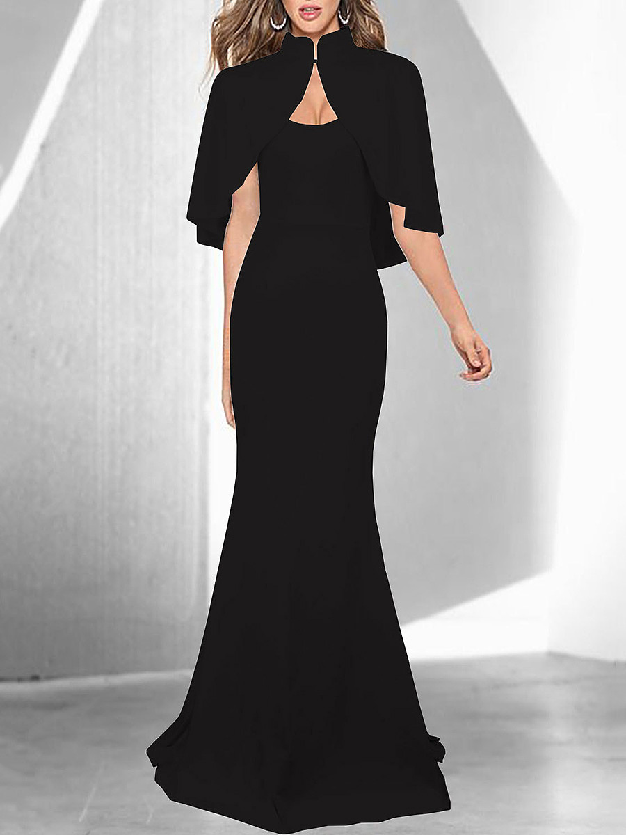 Band Collar Cape Sleeve Plain Mermaid Evening Dress