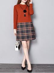 Round Neck  Patchwork  Plaid  Polyester Shift Dresses