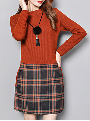 Round-Neck-Patchwork-Plaid-Polyester-Shift-Dresses