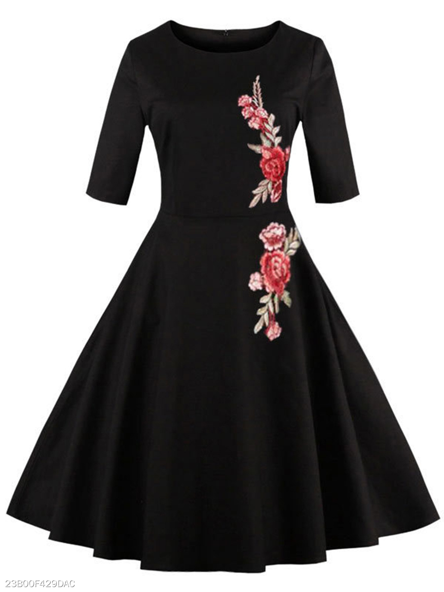 Round Neck Embroidery Applique Skater Dress