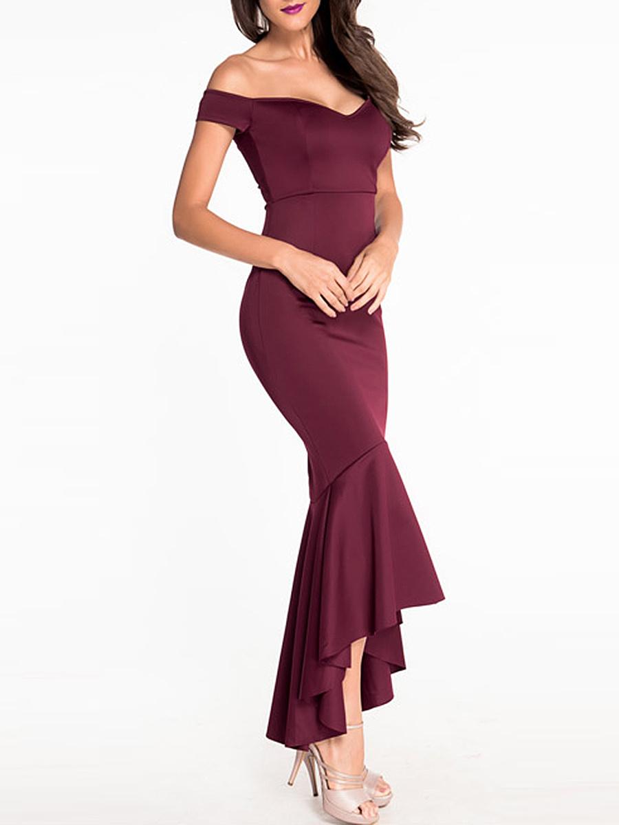 High-Low Mermaid Off Shoulder Plain Evening Dress