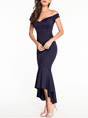 High-Low Mermaid Off Shoulder Plain Evening Dress