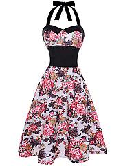 Retro-Halter-Elastic-Waist-Floral-Printed-Skater-Dress