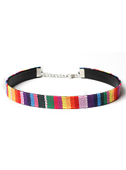 Embroidery Colorful Choker Necklace