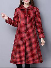 Lapel-Plaid-Pocket-Long-Coat