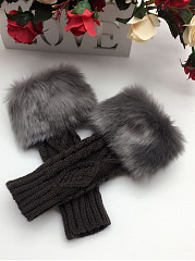 Faux Fur Patchwork Fingerless  Mitten