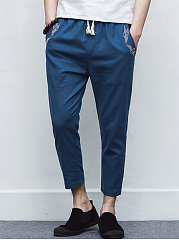 Embroidery Cropped Slim-Leg Men's Casual Pants