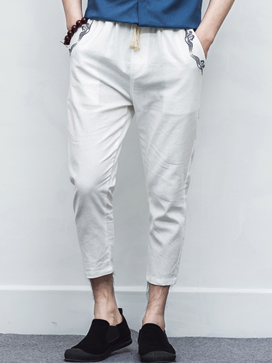 Embroidery Cropped Slim-leg Mens Casual Pants