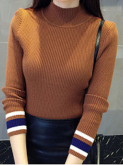 High Neck  Patchwork  Plain Pullover