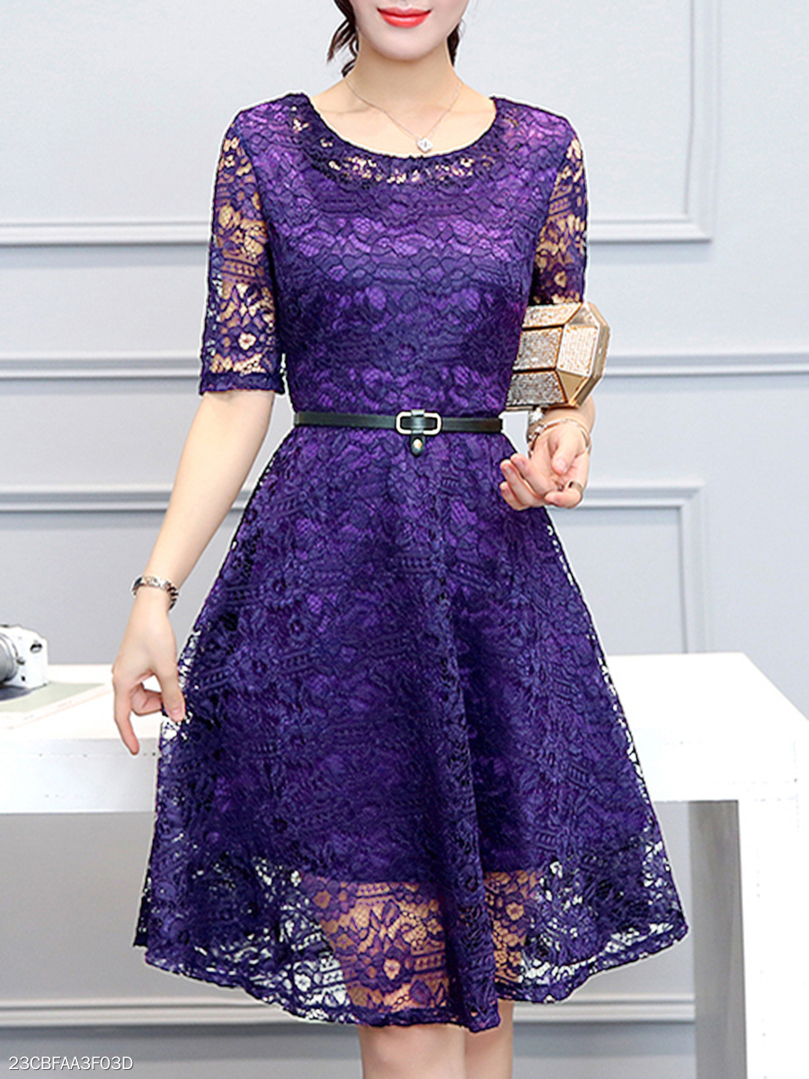 Round Neck Belt Hollow Out Plain Lace Skater Dress