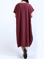 Round Neck  Patch Pocket  Plain  Cotton/Linen Maxi Dress