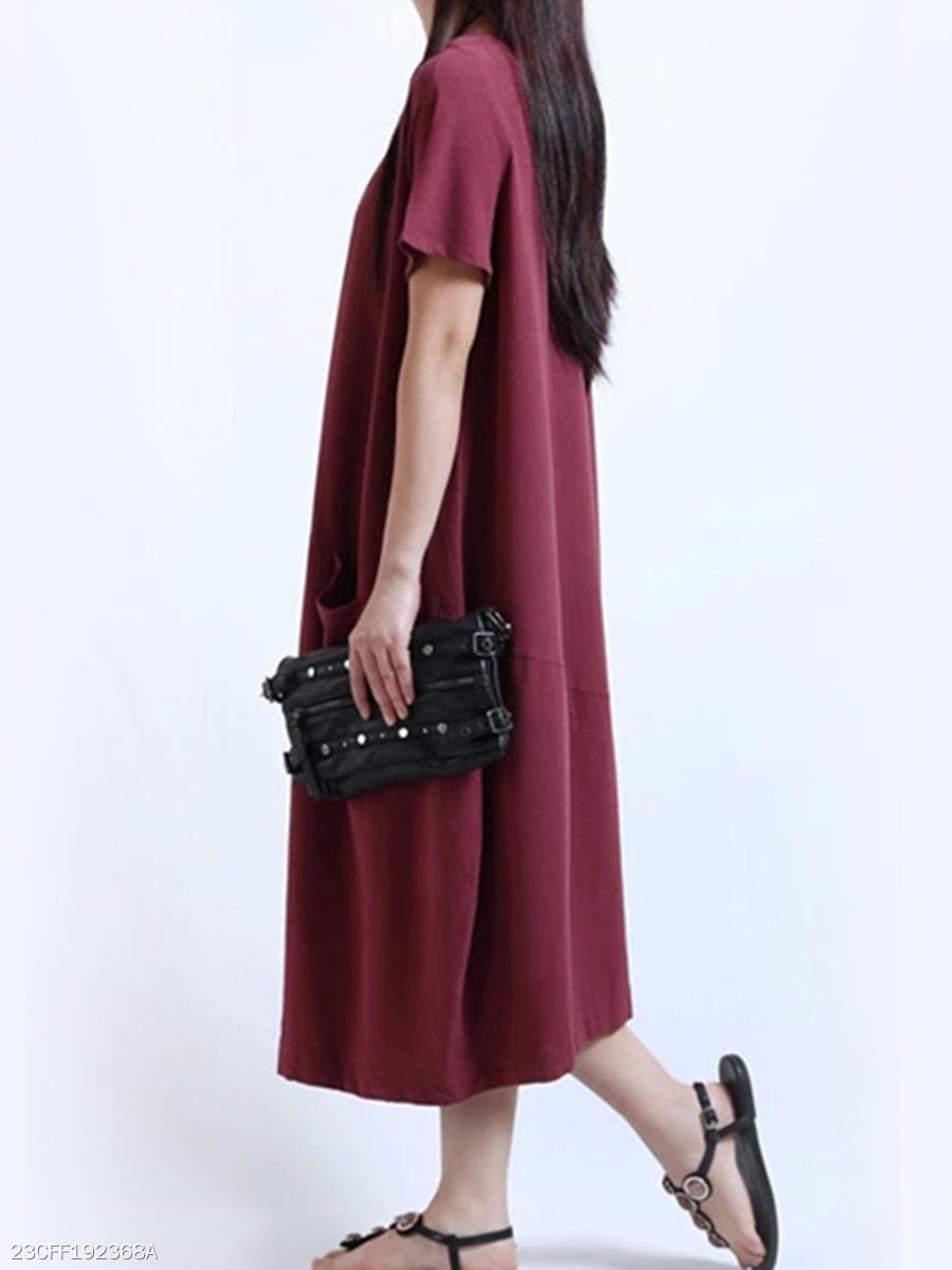 f3d7f9ad6aee Round Neck Patch Pocket Plain Cotton Linen Maxi Dress - fashionMia.com
