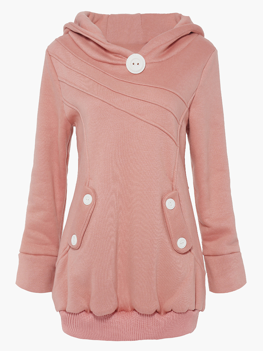 Decorative Button Pocket Plain Hoodie