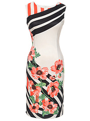 Round Neck  Floral Striped Bodycon Dress