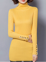 Turtleneck  Decorative Button  Plain  Long Sleeve Sweaters Pullover