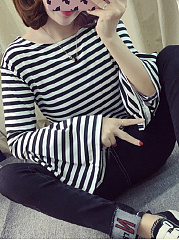 Autumn Spring  Polyester  Women  Round Neck  Striped  Bell Sleeve Long Sleeve T-Shirts