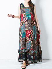 Round Neck  Ruffled Hem  Belt  Printed Maxi Dress