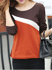 Autumn Spring  Cotton  Women  Round Neck  Patchwork  Color Block Plain Long Sleeve T-Shirts