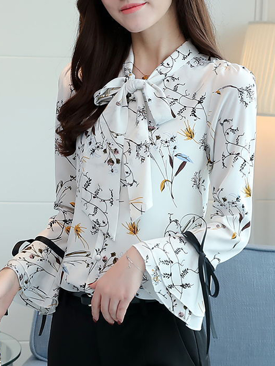 Tie Collar  Bowknot  Floral Printed  Bell Sleeve Blouse