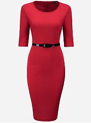 Office-Round-Neck-Belt-Plain-Bodycon-Dress