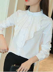 Autumn Spring  Polyester  Women  Round Neck  Flounce Single Breasted  Plain  Long Sleeve Blouses