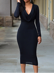 Cowl Neck  Plain  Blend Bodycon Dress