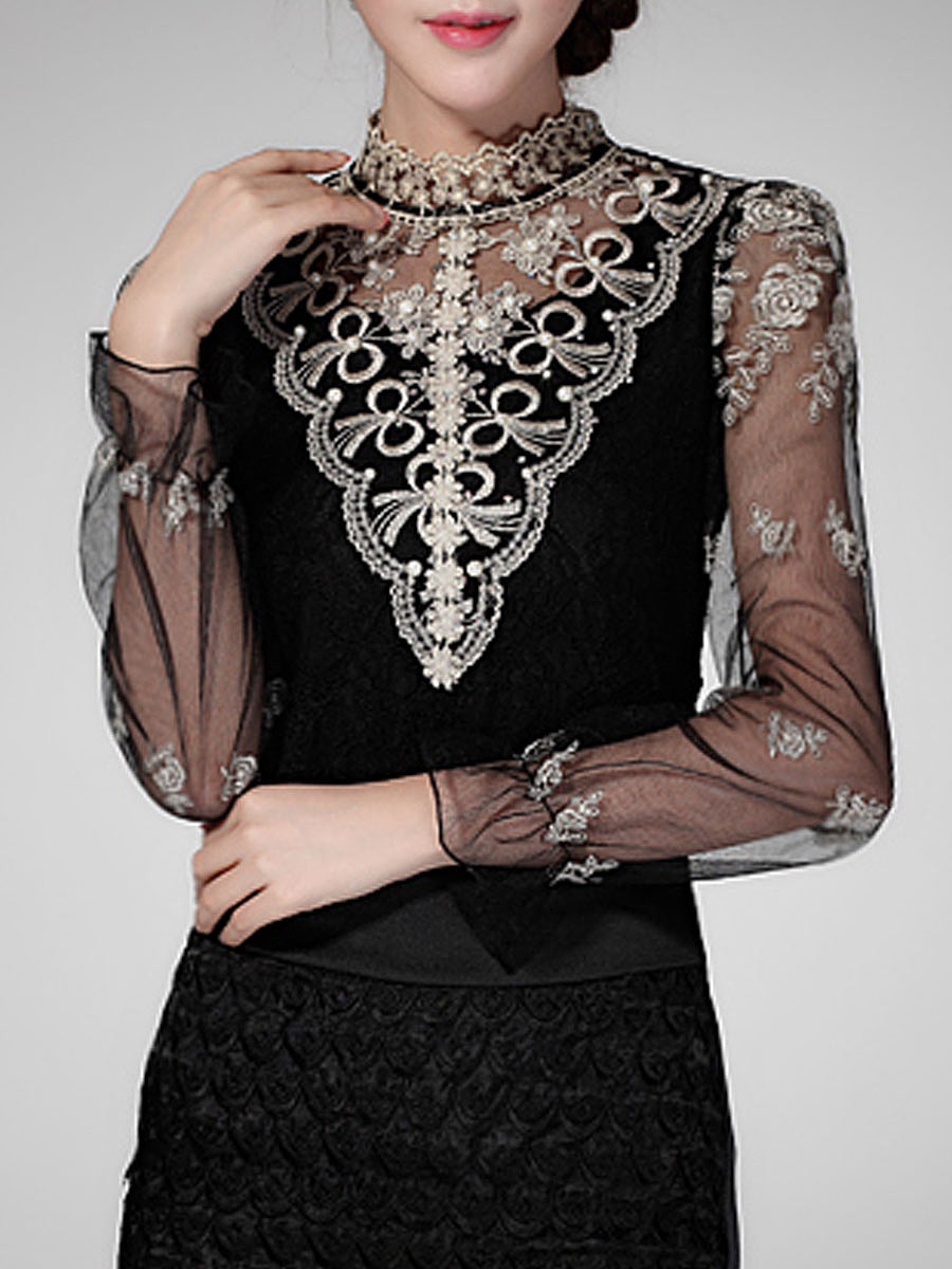 Band Collar  Beading See-Through  Embroidery Blouse