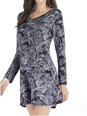 V-Neck-Printed-Polyester-Shift-Dress
