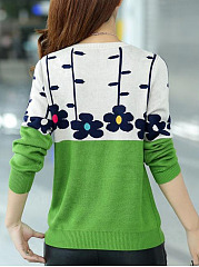 Round Neck  Color Block Floral  Long Sleeve Pullover