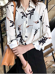Turn Down Collar  Single Breasted  Floral  Long Sleeve Blouses