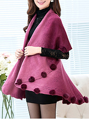 Lapel Fur-Ball Gradient Knitted Cape