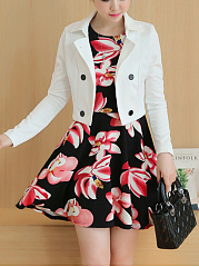 Double-Breasted-Jacket-And-Floral-Printed-Skater-Dress