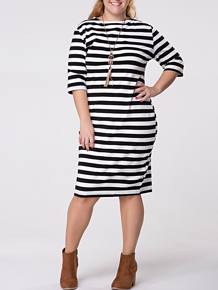 Crew Neck Striped Half Sleeve Plus Size Shift Dress