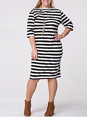 Crew-Neck-Striped-Half-Sleeve-Plus-Size-Shift-Dress