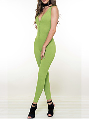 Sexy Green Single Breasted  Single Button  Plain  Slim-Leg  High-Rise Jumpsuits