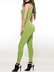 Sexy-Green-Single-Breasted-Single-Button-Plain-Slim-Leg-High-Rise-Jumpsuits