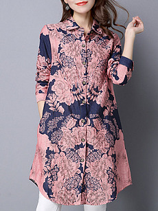 Button Down Collar  Single Breasted  Print Shift Dresses