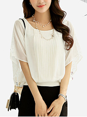 Patchwork-Hollow-Out-Plain-Batwing-Sleeve-Blouse