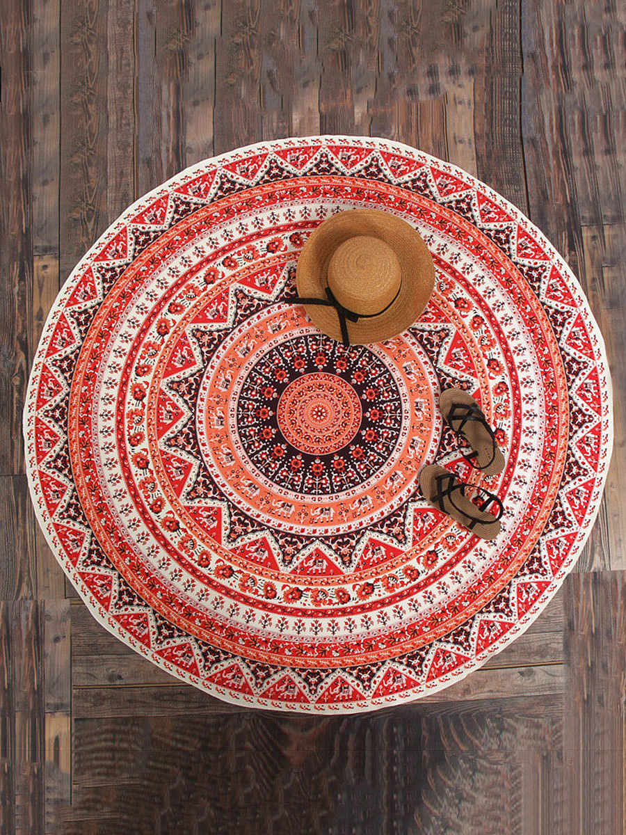 Charming Printed Round Beach Shawl