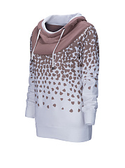 Cowl Neck  Color Block Printed Hoodie