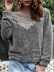 Round Neck  Decorative Lace  Plain  Long Sleeve Sweatshirts