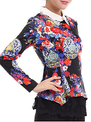 Autumn Spring Winter  Polyester  Women  Doll Collar  Decorative Lace Patchwork  Floral Printed  Long Sleeve Blouses