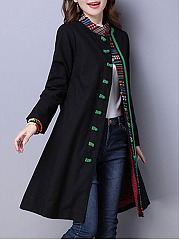 Band Collar  Slit Pocket  Decorative Button  Printed  Long Sleeve Trench Coats