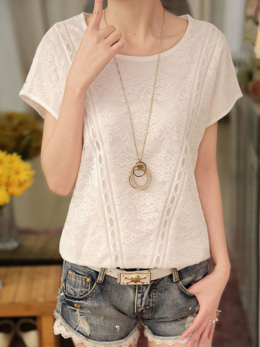 Round Neck Plain Lace Short Sleeve T-Shirt