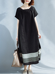 Boat Neck  Contrast Trim  Color Block Maxi Dress